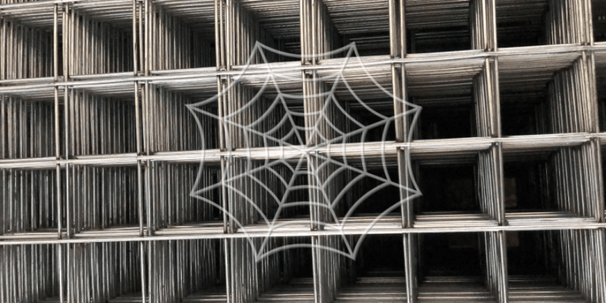 Stack of silver welded wire mesh