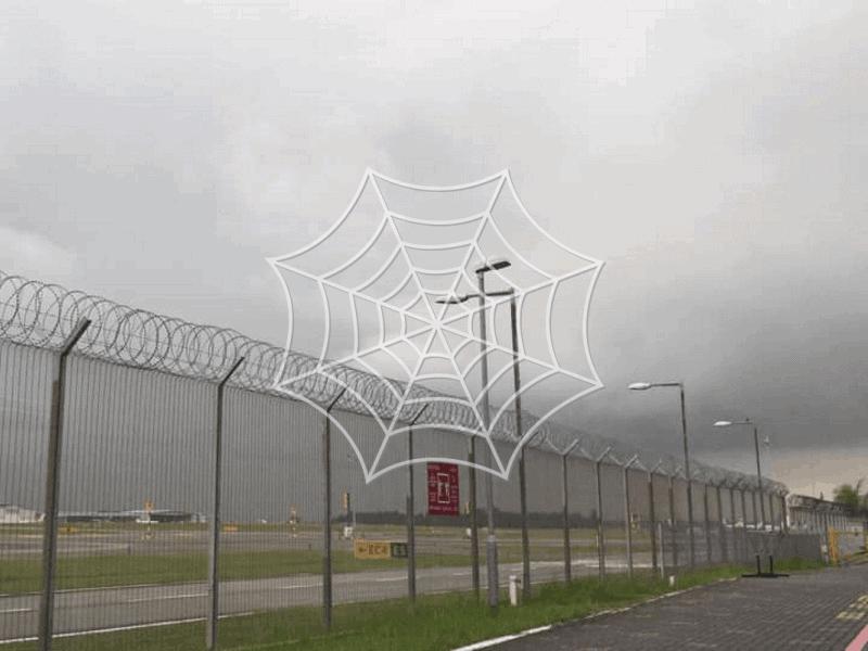 razor wire fences guarding an area